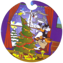 Flippos > Giga Winter 04-Bugs-Bunny,-Daffy-Duck,-Taz,-Tweety-decorating-Christmas-tree.