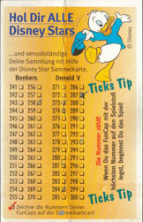 Fun Caps > Checklists & packets Disney-Stars-Sammelkarte-151-300-(rear).
