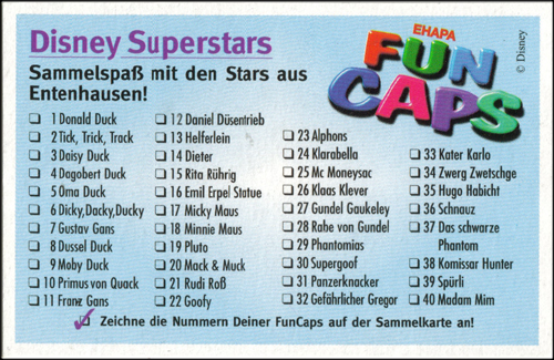 Fun Caps > Disney Superstars aus Entenhausen 01-40 Checklist-front-01-40.
