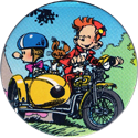 Caps > Spirou / Robbedoes 76-Fantasio,-Spirou,-and-Spip-on-motorcyle-with-side-car.