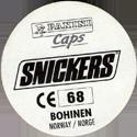 Panini Caps > Snickers Euro 96 - Norway Back.