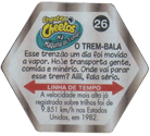 Tazos > Chester Cheetos Na Máquina do Tempo 26-O-Trem-bala-(back).