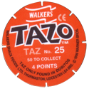 Tazos > Walkers > Looney Tunes Back-Taz.