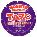 Tazos > Walkers > Monster Munch Series 2 Back.