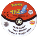 Tazos > Walkers > Pokémon 03-#239-Elekid-(back).