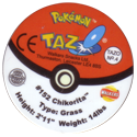 Tazos > Walkers > Pokémon 04-#152-Chikorita-(back).