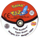 Tazos > Walkers > Pokémon 06-#192-Sunflora-(back).