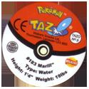 Tazos > Walkers > Pokémon 09-#183-Marill-(back).