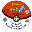 Tazos > Walkers > Pokémon 12-#161-Sentret-(back).