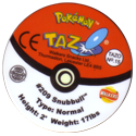 Tazos > Walkers > Pokémon 15-#209-Snubbull-(back).