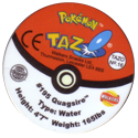 Tazos > Walkers > Pokémon 16-#195-Quagsire-(back).