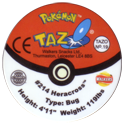 Tazos > Walkers > Pokémon 19-#214-Heracross-(back).