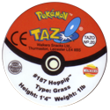 Tazos > Walkers > Pokémon 20-#187-Hoppip-(back).