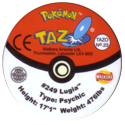 Tazos > Walkers > Pokémon 23-#249-Lugia-(back).