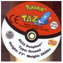 Tazos > Walkers > Pokémon 25-#232-Donphan-(back).
