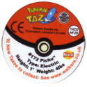 Tazos > Walkers > Pokémon 29-#172-Pichu-(back).