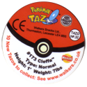 Tazos > Walkers > Pokémon 32-#173-Cleffa-(back).