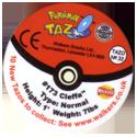 Tazos > Walkers > Pokémon 32-#173-Cleffa-(back).