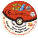 Tazos > Walkers > Pokémon 34-#237-Hitmontop-(back).