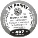 World Flip Federation > Football Technik (Foil) 407-The-Free-Kick---The-touch-of-Maradonna-(back).