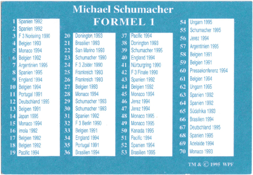 World POG Federation (WPF) > Schmidt > Michael Schumacher Checklist.