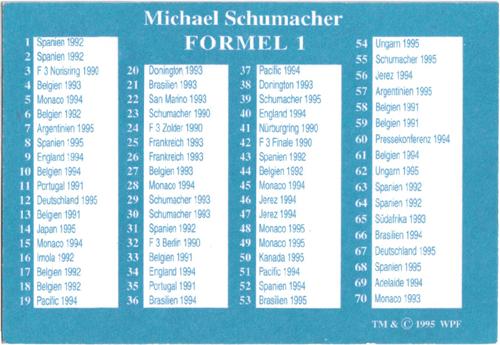 World POG Federation (WPF) > Schmidt > Michael Schumacher Checklist.