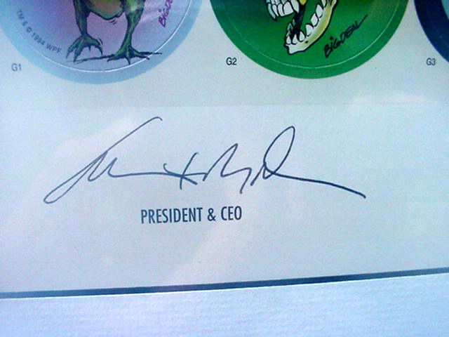 World Pog Federation POG Series 1 The Premiere Collectors Edition - President and CEO signature