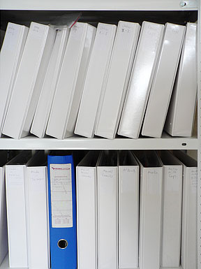 Photo of folders on a shelf