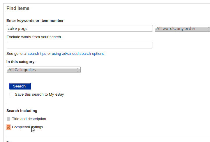 Ebay Advanced Search with Completed Listings ticked